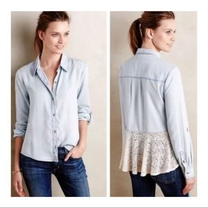 Holding Horse Chambray Lace Trim Top ~Size M~